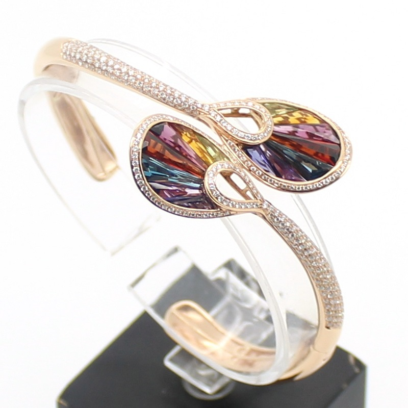 Bellarri Diamond And Semi Precious Multi Colored Stone Bangle Bracelet Set In 18 Karat Rose Gold